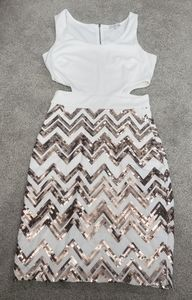 Gold and white sequin dress